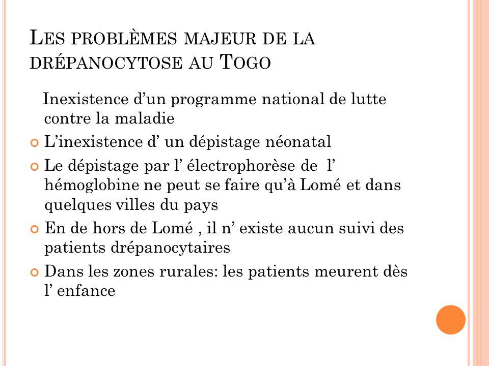 Les problèmes majeur de la drépanocytose au Togo