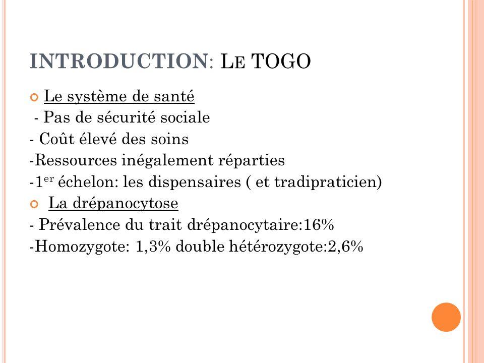 INTRODUCTION: Le TOGO Le système de santé - Pas de sécurité sociale