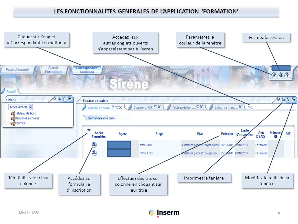 LES FONCTIONNALITES GENERALES DE L'APPLICATION 'FORMATION'
