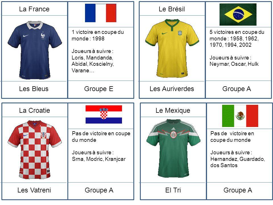 La France Les Bleus Groupe E Le Brésil Les Auriverdes Groupe A