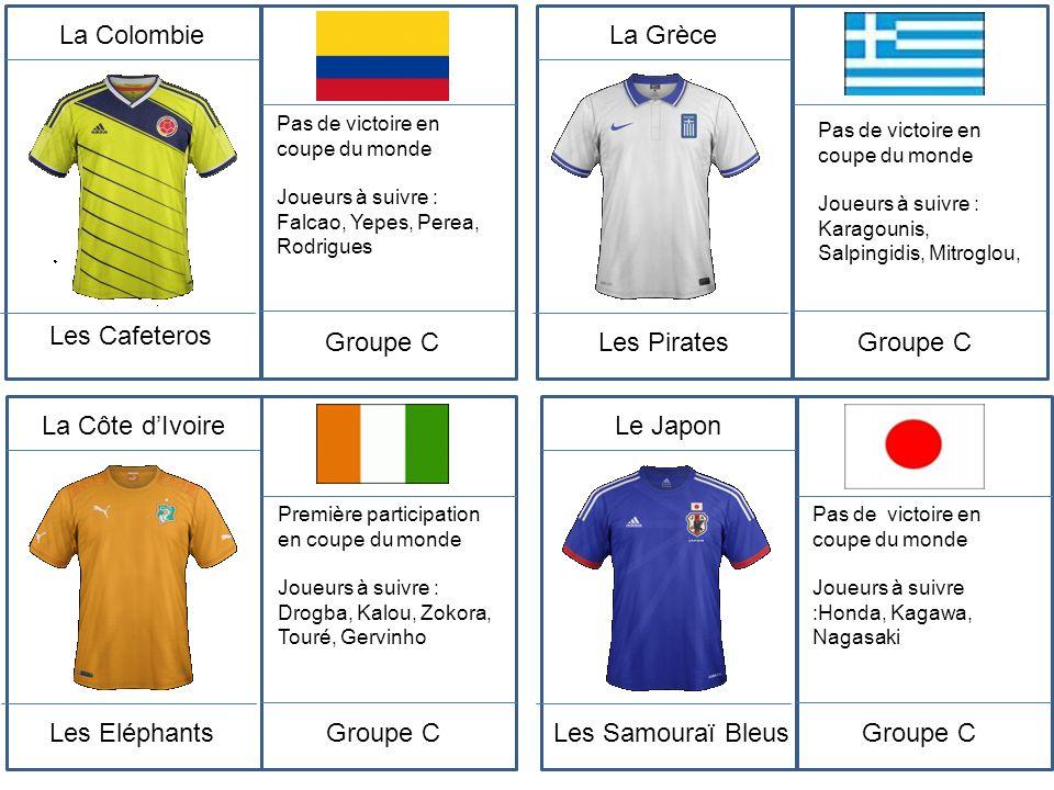 La Colombie Les Cafeteros Groupe C La Grèce Les Pirates Groupe C