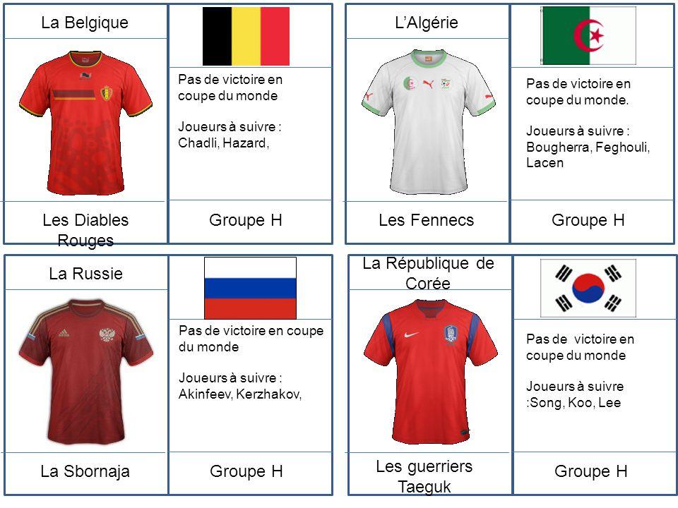 La Belgique Les Diables Rouges Groupe H L'Algérie Les Fennecs Groupe H