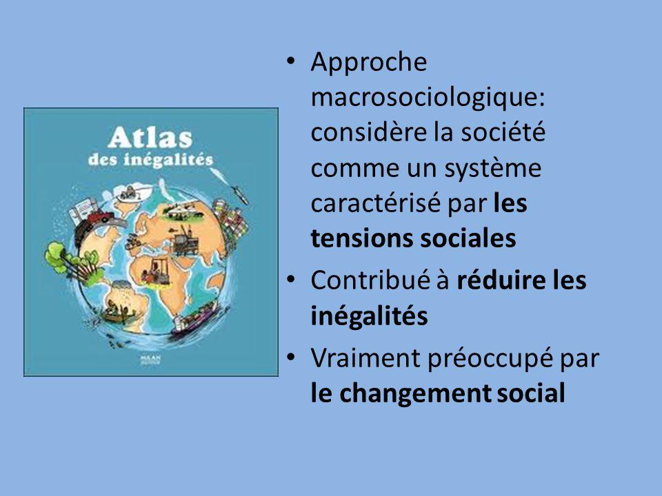 Approche macrosociologique: considère la société comme un système caractérisé par les tensions sociales