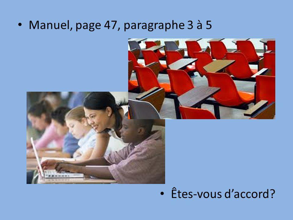 Manuel, page 47, paragraphe 3 à 5