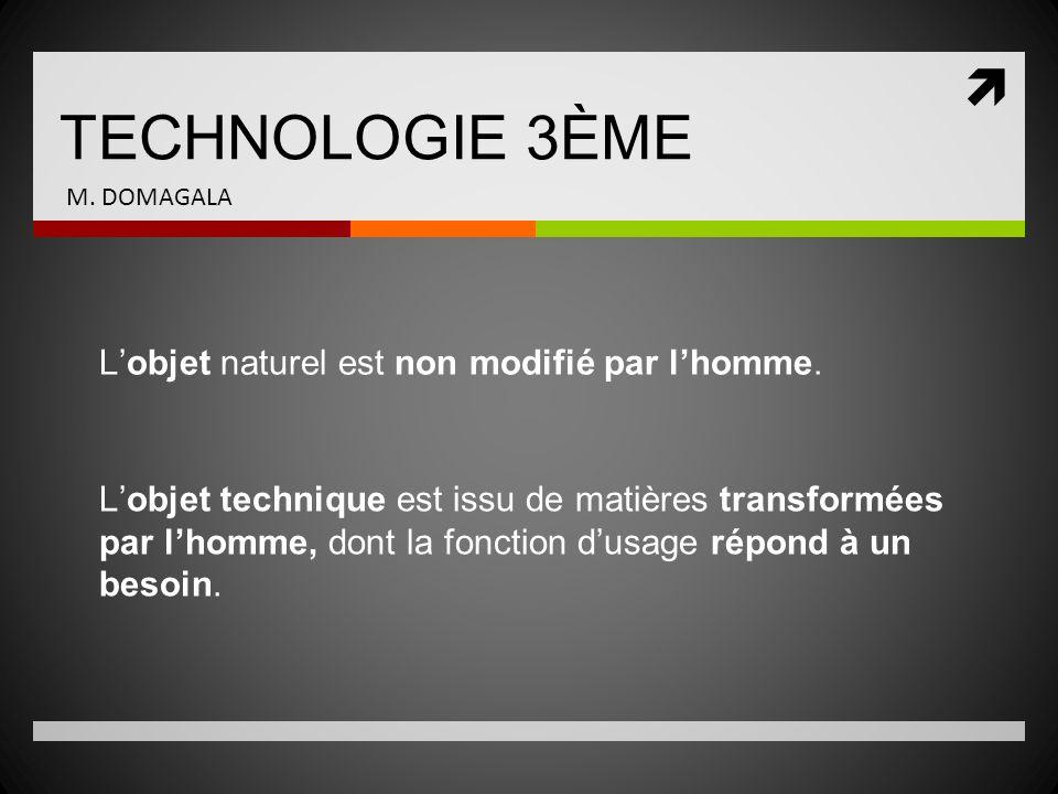 TECHNOLOGIE 3ÈME L'objet naturel est non modifié par l'homme.
