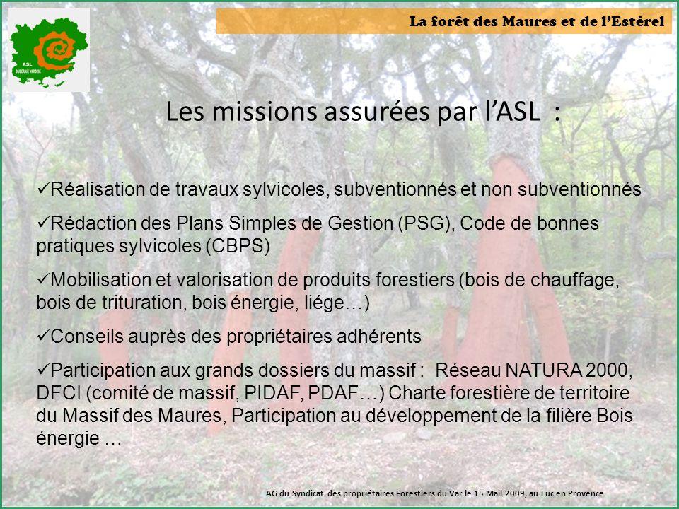 Les missions assurées par l'ASL :