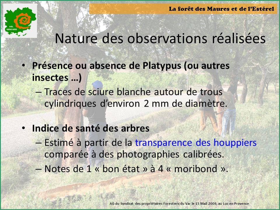 Nature des observations réalisées
