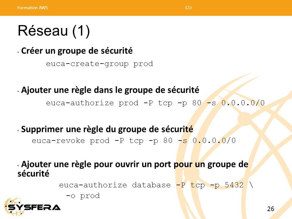 Réseau (1) Créer un groupe de sécurité