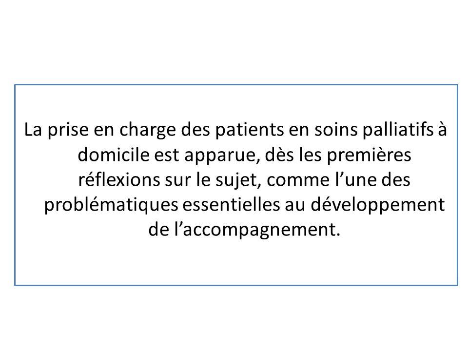 La prise en charge des patients en soins palliatifs à domicile est apparue, dès les premières réflexions sur le sujet, comme l'une des problématiques essentielles au développement de l'accompagnement.