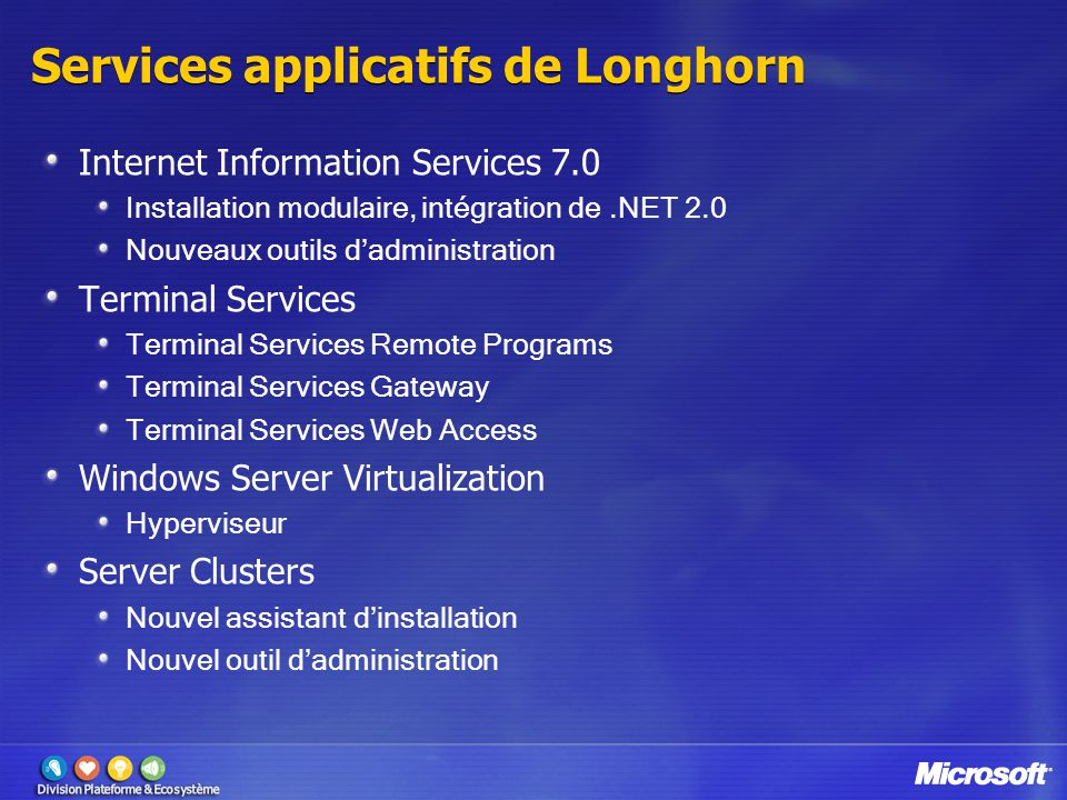 Services applicatifs de Longhorn