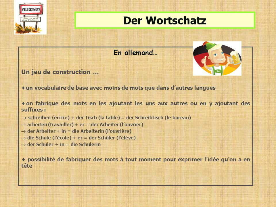 Der Wortschatz En allemand… Un jeu de construction …