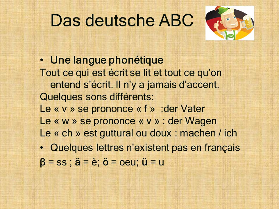 Das deutsche ABC Une langue phonétique