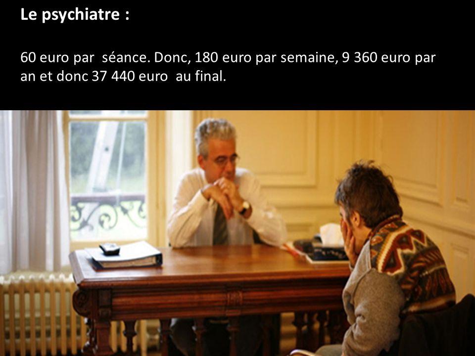 Le psychiatre : 60 euro par séance.