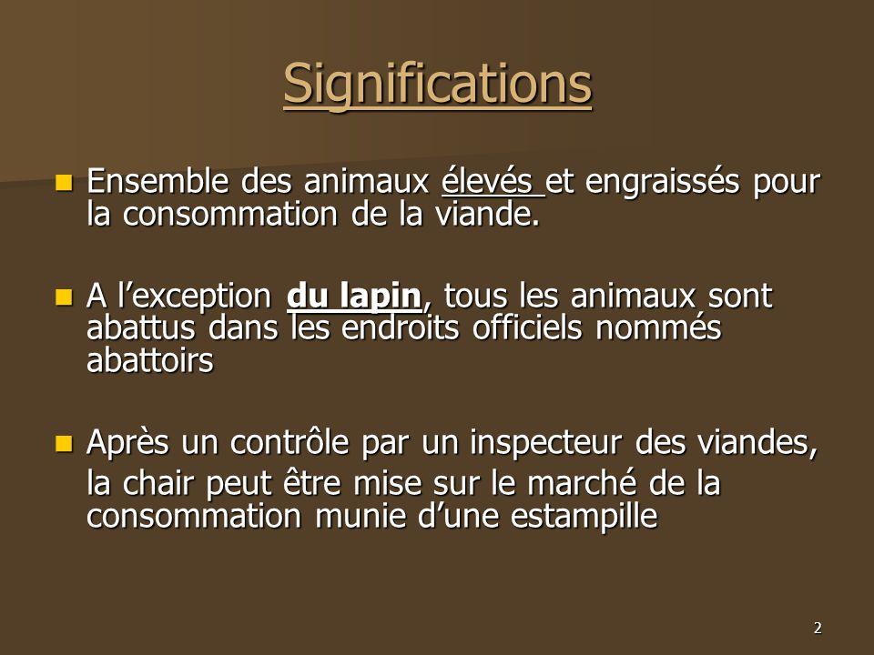 Significations Ensemble des animaux élevés et engraissés pour la consommation de la viande.