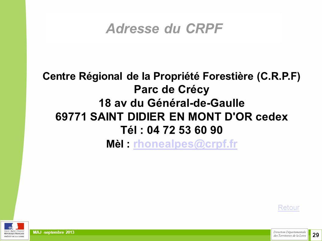 Adresse du CRPF Parc de Crécy 18 av du Général-de-Gaulle