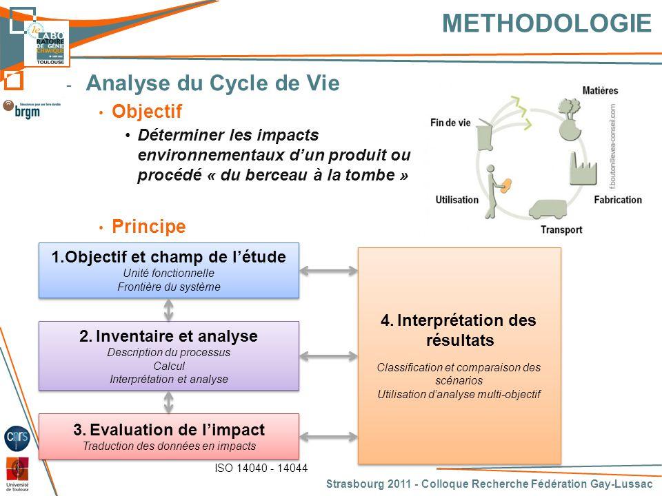 METHODOLOGIE Analyse du Cycle de Vie Objectif Principe