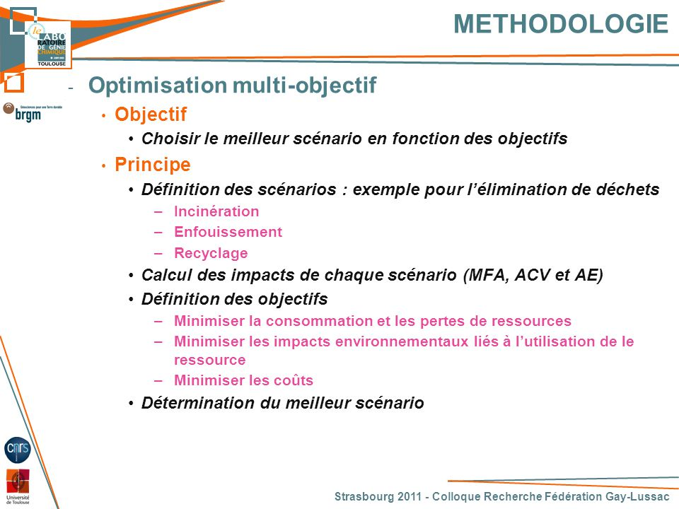 METHODOLOGIE Optimisation multi-objectif Objectif Principe