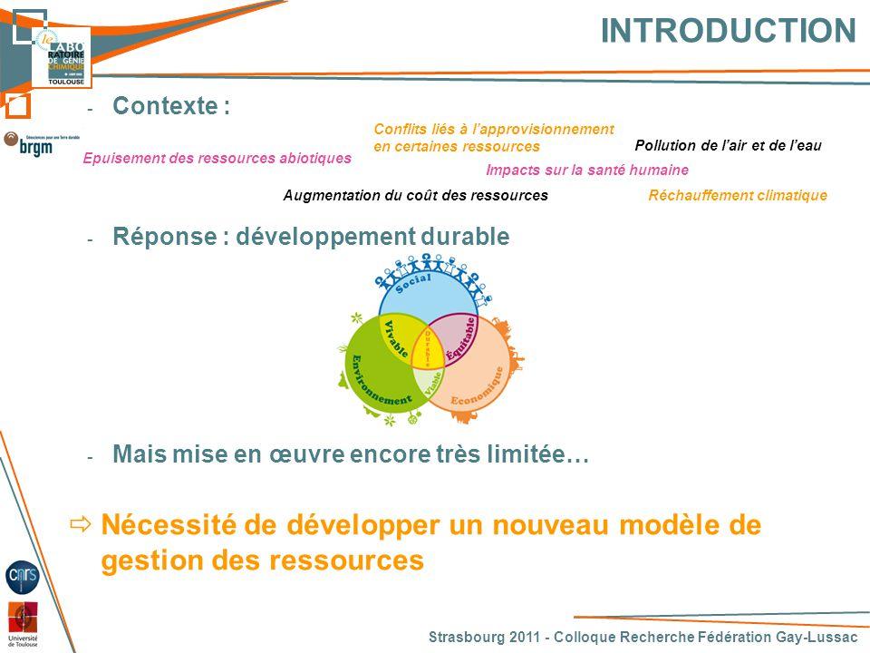 INTRODUCTION Contexte : Réponse : développement durable. Mais mise en œuvre encore très limitée…