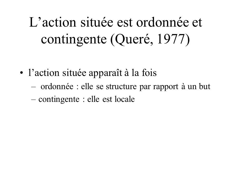 L'action située est ordonnée et contingente (Queré, 1977)