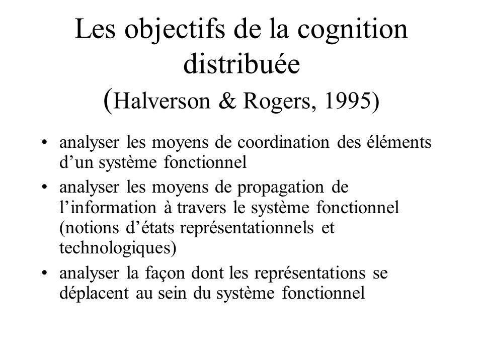 Les objectifs de la cognition distribuée (Halverson & Rogers, 1995)