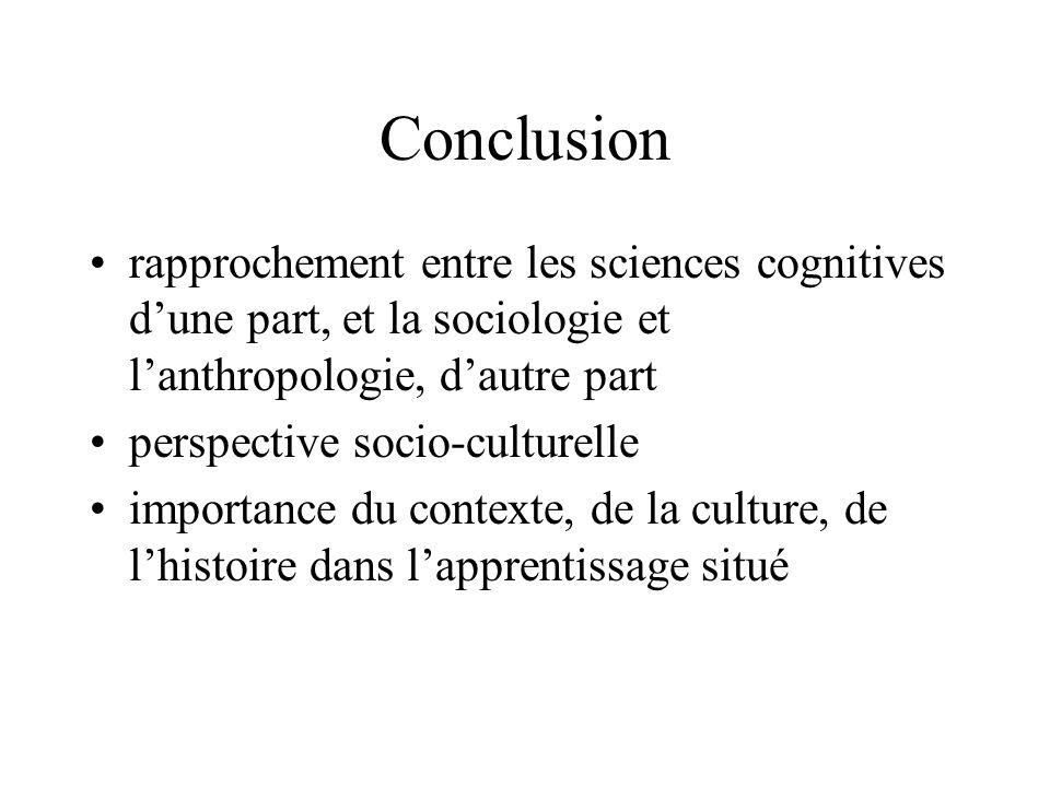 Conclusion rapprochement entre les sciences cognitives d'une part, et la sociologie et l'anthropologie, d'autre part.