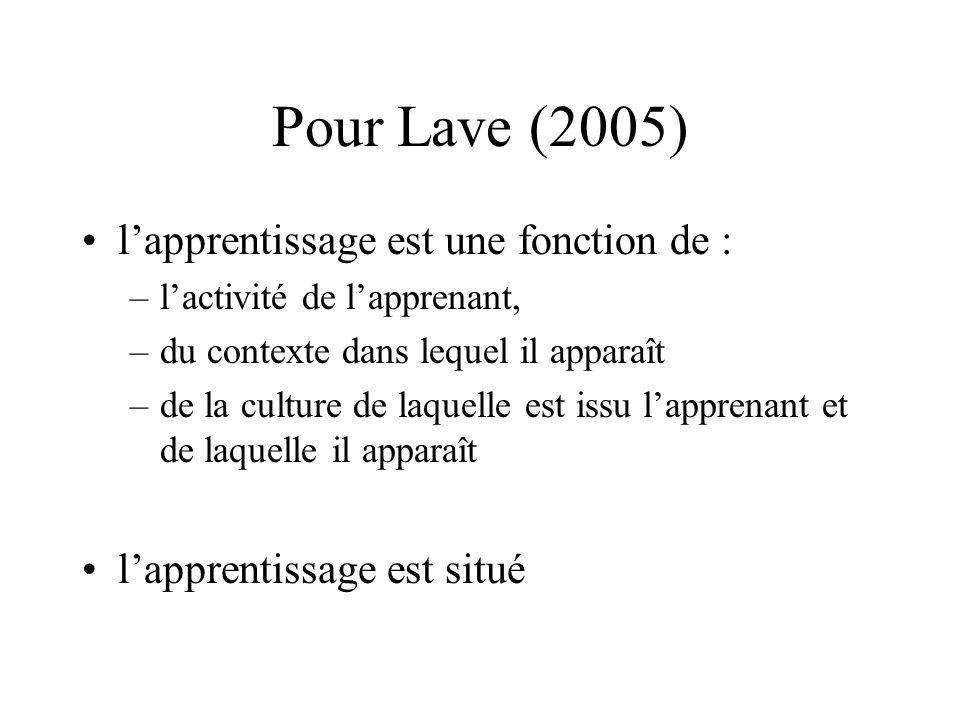 Pour Lave (2005) l'apprentissage est une fonction de :