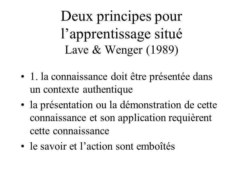 Deux principes pour l'apprentissage situé Lave & Wenger (1989)