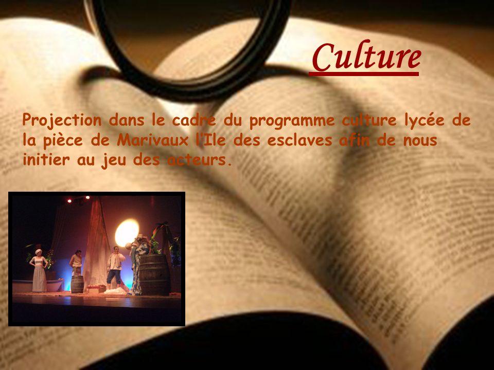 Culture Projection dans le cadre du programme culture lycée de la pièce de Marivaux l'Ile des esclaves afin de nous initier au jeu des acteurs.