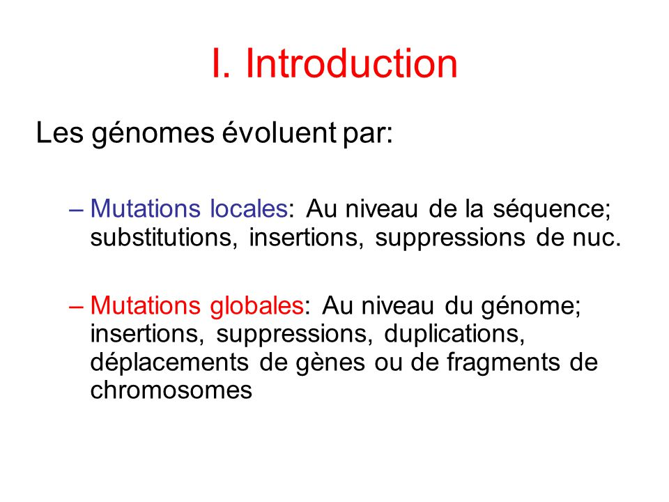 I. Introduction Les génomes évoluent par:
