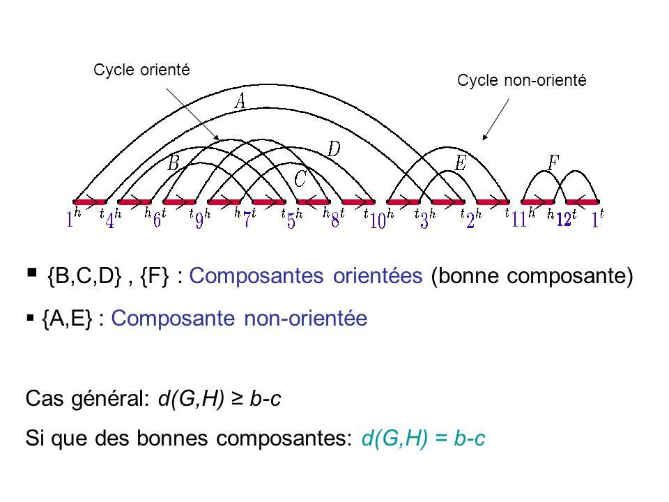{B,C,D} , {F} : Composantes orientées (bonne composante)