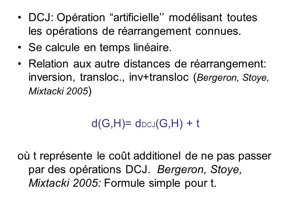 DCJ: Opération artificielle'' modélisant toutes les opérations de réarrangement connues.