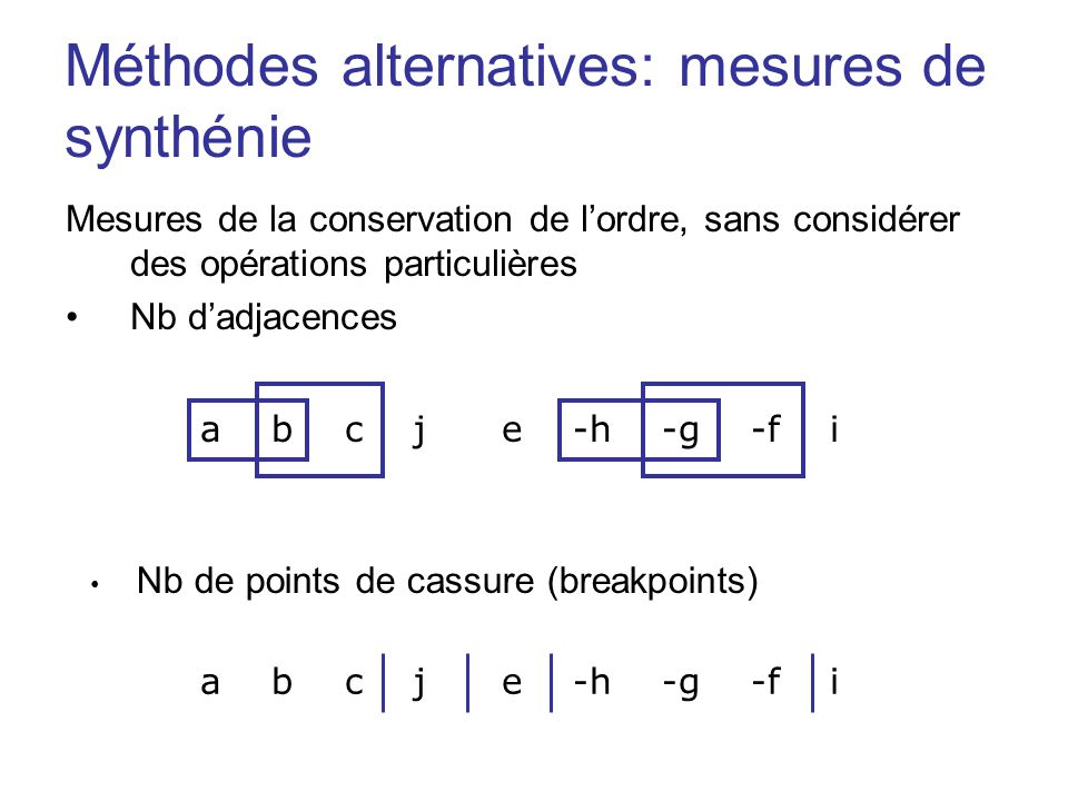 Méthodes alternatives: mesures de synthénie