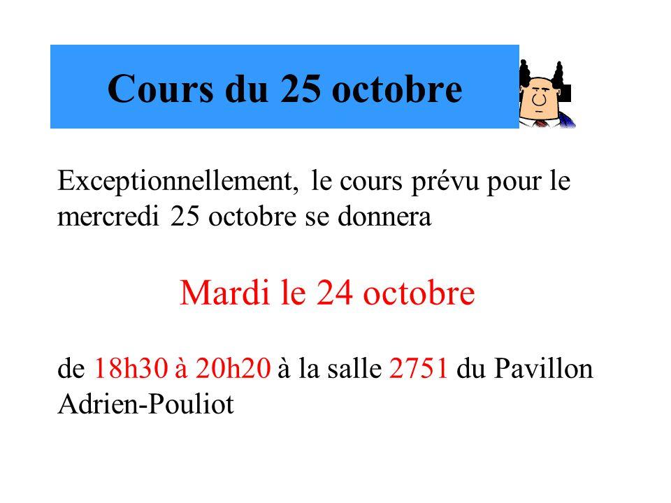 Cours du 25 octobre Mardi le 24 octobre