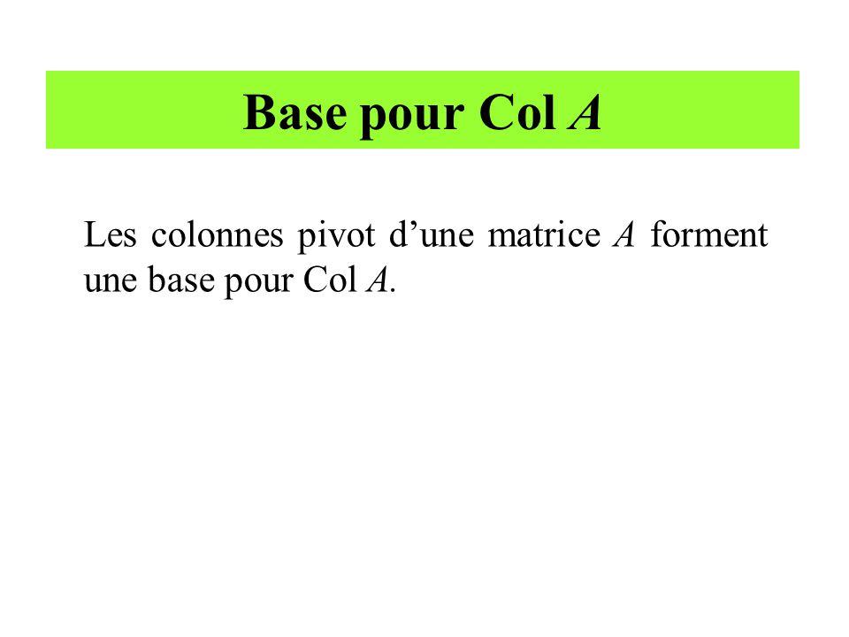Base pour Col A Les colonnes pivot d'une matrice A forment une base pour Col A.