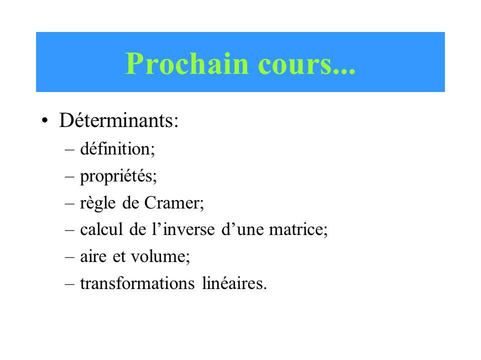 Prochain cours... Déterminants: définition; propriétés;