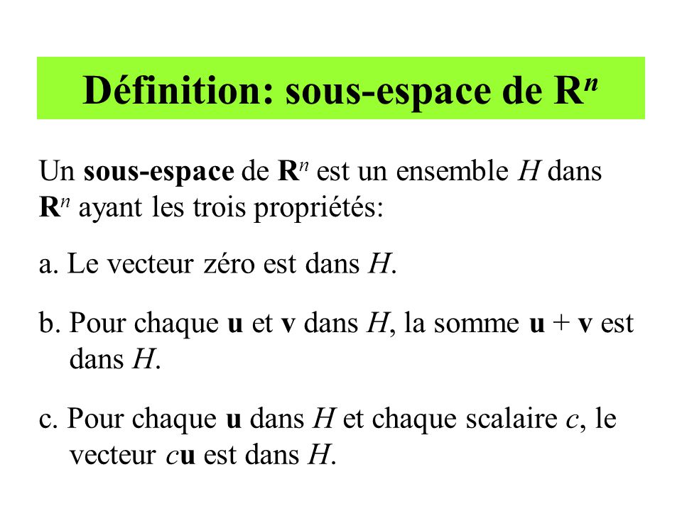 Définition: sous-espace de Rn