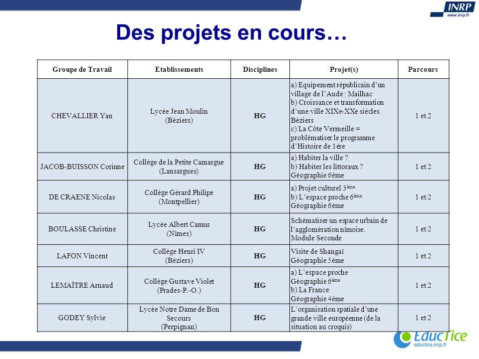 Des projets en cours… Groupe de Travail Etablissements Disciplines