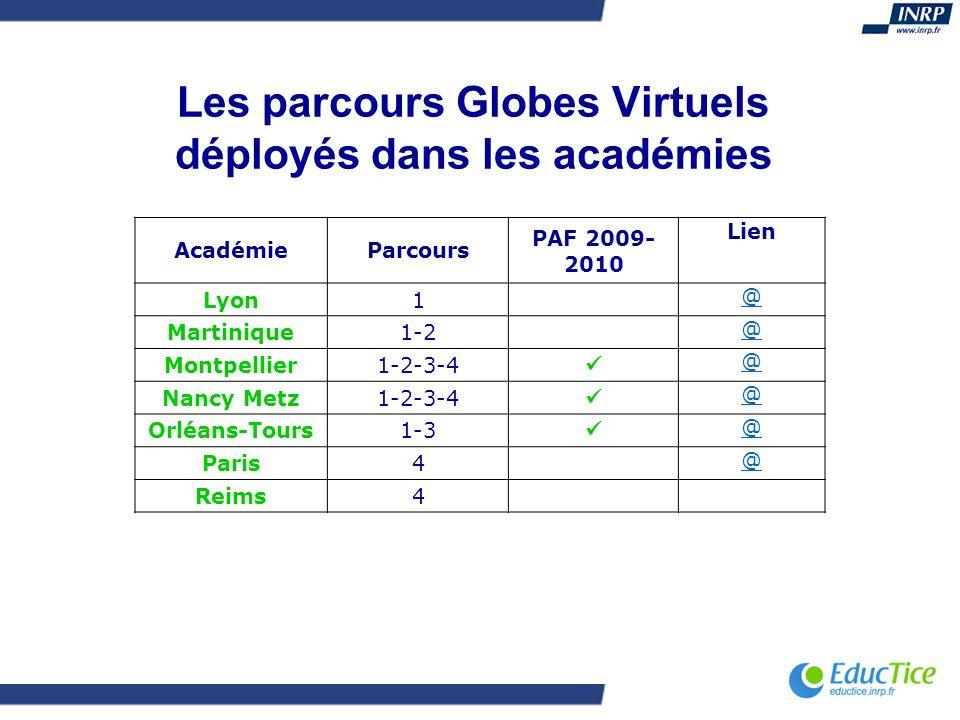 Les parcours Globes Virtuels déployés dans les académies