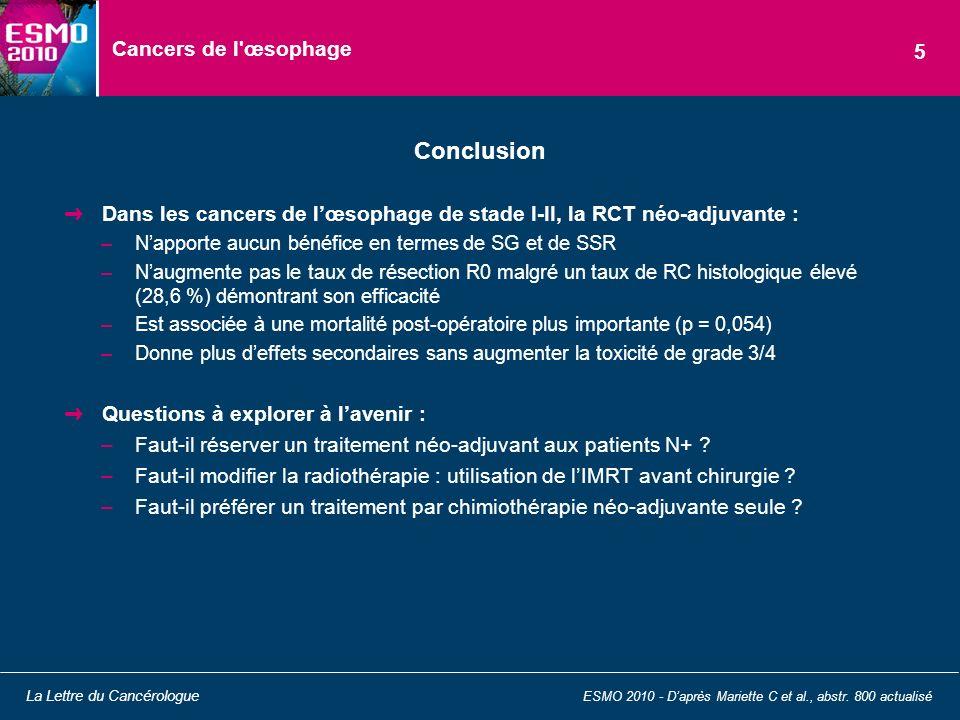 Conclusion Cancers de l œsophage 5