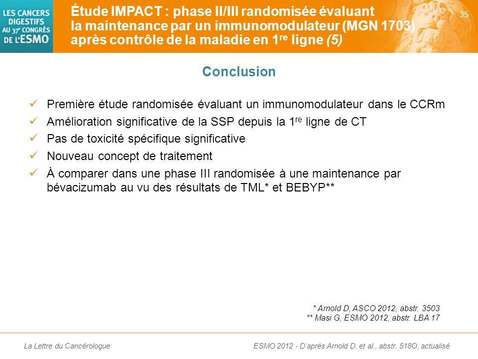 Étude IMPACT : phase II/III randomisée évaluant la maintenance par un immunomodulateur (MGN 1703) après contrôle de la maladie en 1re ligne (5)