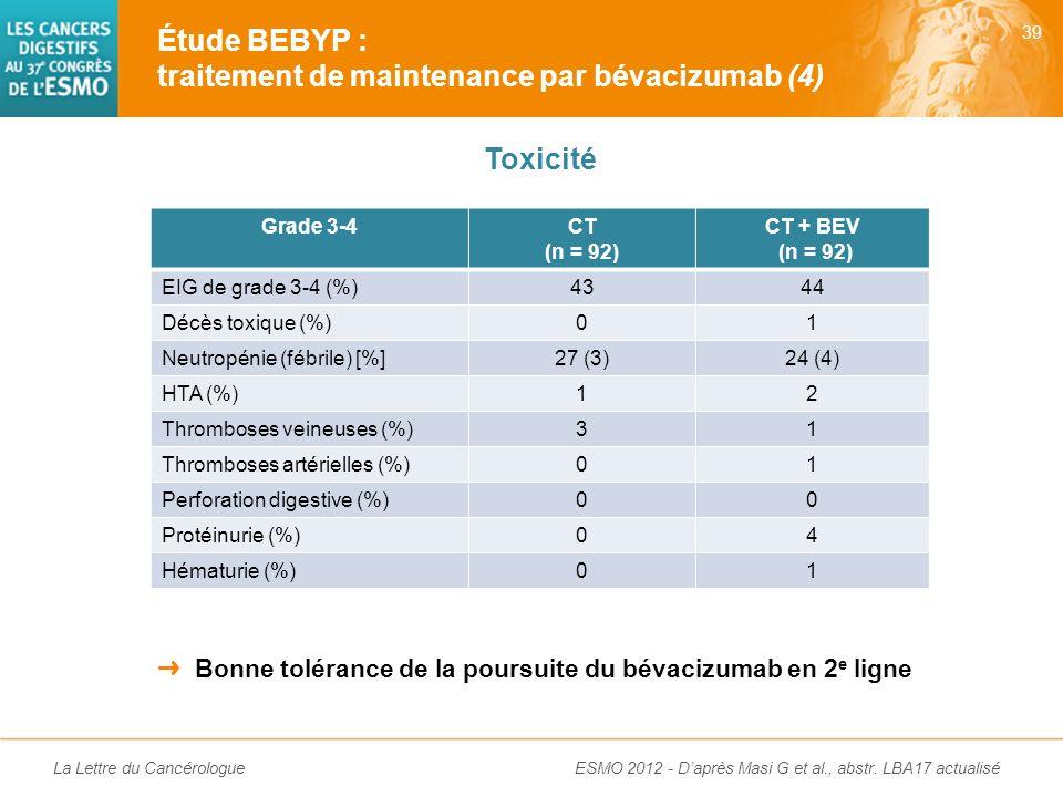 Étude BEBYP : traitement de maintenance par bévacizumab (4)