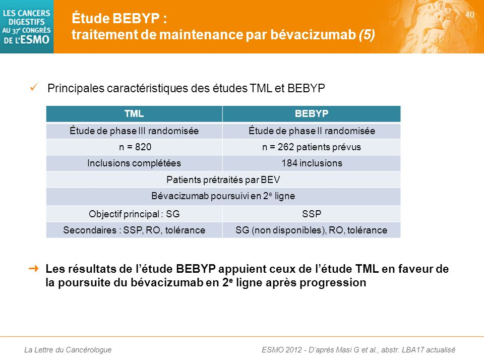 Étude BEBYP : traitement de maintenance par bévacizumab (5)