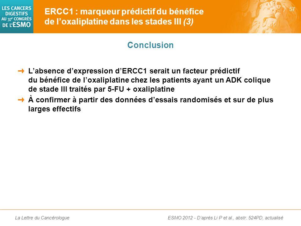 ERCC1 : marqueur prédictif du bénéfice de l'oxaliplatine dans les stades III (3)
