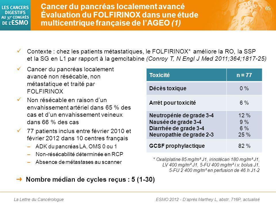 Cancer du pancréas localement avancé Évaluation du FOLFIRINOX dans une étude multicentrique française de l'AGEO (1)