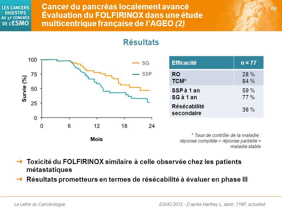Cancer du pancréas localement avancé Évaluation du FOLFIRINOX dans une étude multicentrique française de l'AGEO (2)
