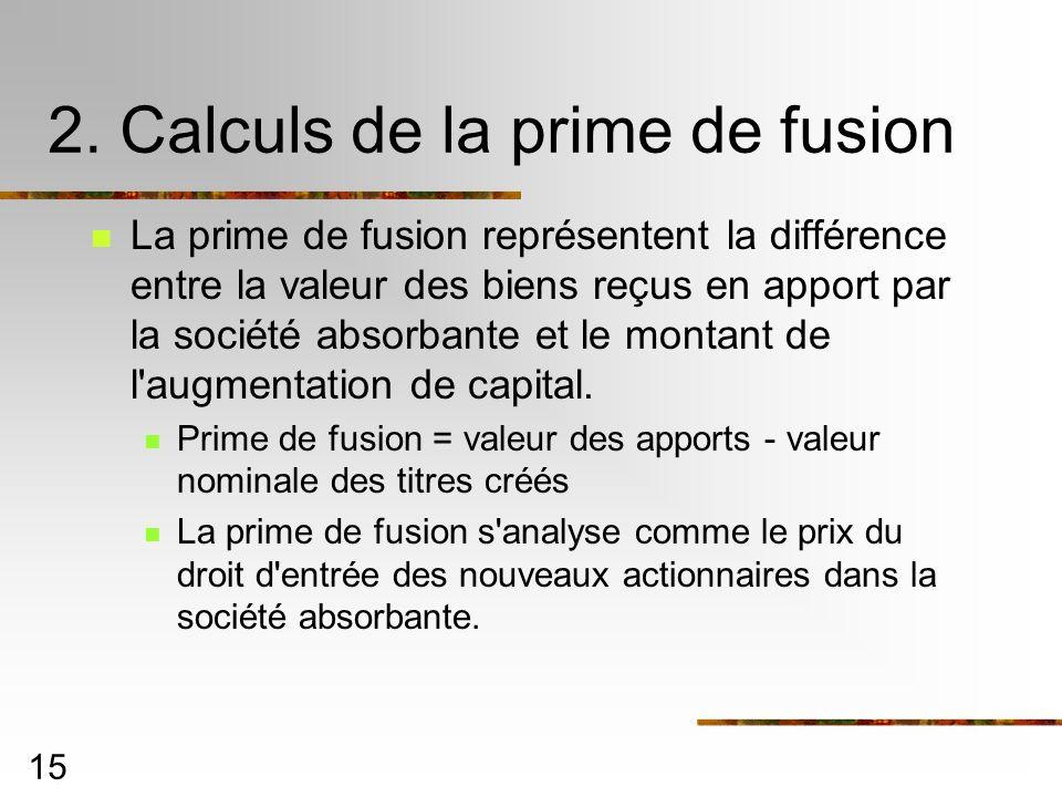 2. Calculs de la prime de fusion