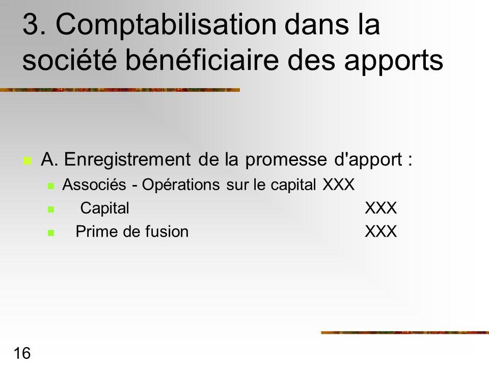 3. Comptabilisation dans la société bénéficiaire des apports