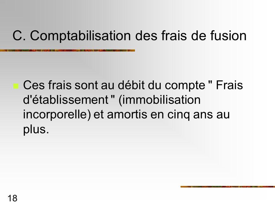 C. Comptabilisation des frais de fusion