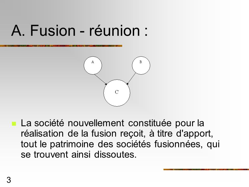 A. Fusion - réunion :