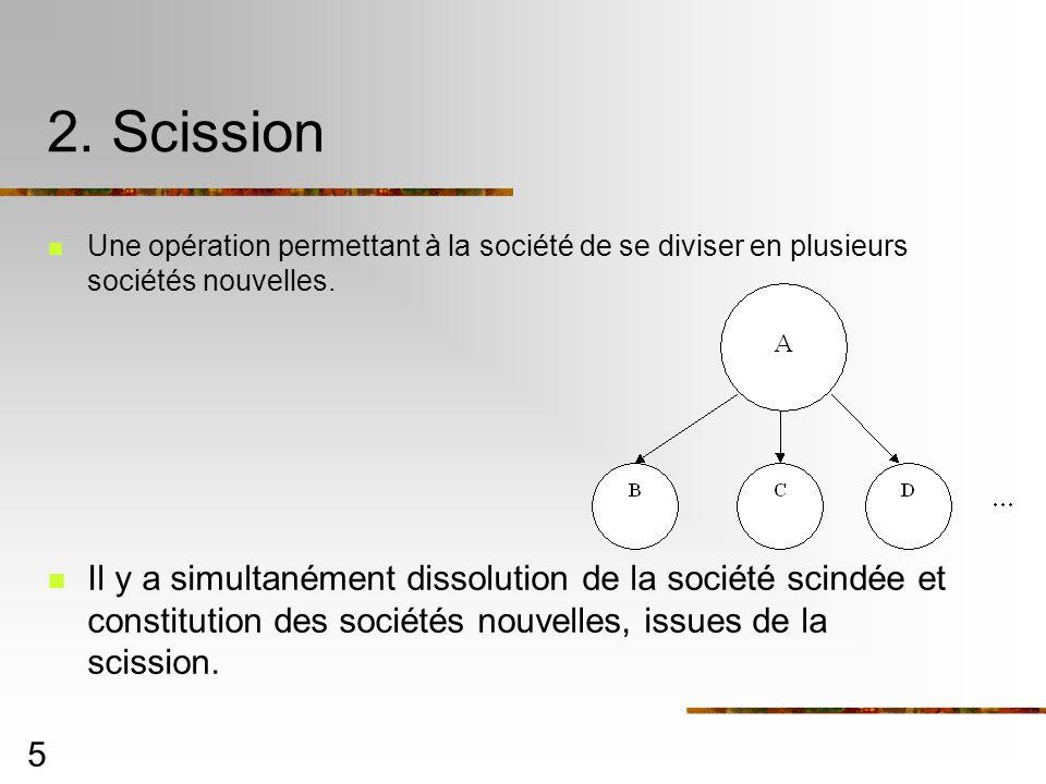 2. Scission Une opération permettant à la société de se diviser en plusieurs sociétés nouvelles.